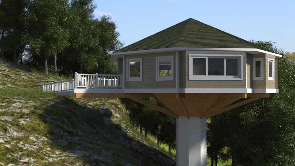 Pedestal octagonal cbi kit homes for Octagon home designs